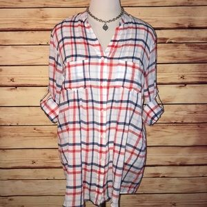 Lord & Taylor White Red & Blue Plaid Tunic Blouse